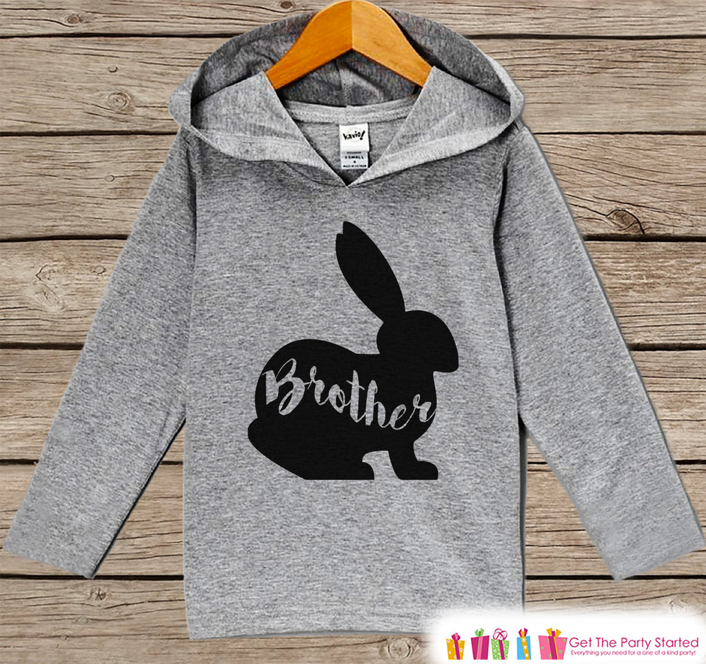 Boys Easter Outfit - Easter Brother Bunny Hoodie - Easter Spring Pullover - Baby Boys Easter Outfit - Egg Hunt - Kids Grey Toddler Hoodie - Get The Party Started