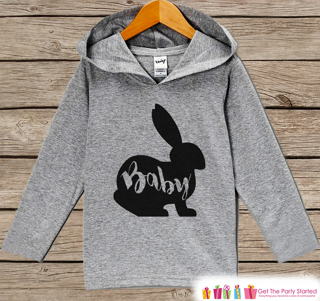 Kids Easter Outfit - Easter Baby Bunny Hoodie - Easter Spring Pullover - Baby Boy or Girl Easter Outfit - Egg Hunt - Kid Grey Toddler Hoodie - Get The Party Started