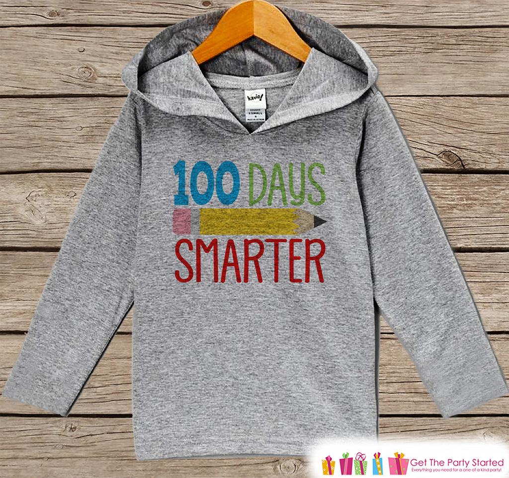 100 Days of School Shirt - 100 Days Smarter Shirt - Kids 100th Day of School Outfit - Boy or Girl 100th Day of School Shirt - Grey Hoodie