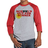 Teacher Shirts - School's Out For Summer - Teacher Gift - Teacher Appreciation Gift - Red Sunglasses Summer Shirt - Men's Red Raglan Tee