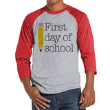 Teacher Shirts - First Day of School Shirt - Teacher Gift - Teacher Appreciation Gift - Gift for Teacher Team - Men's Red Raglan Tee