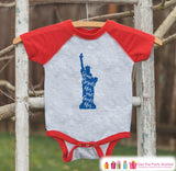 4th of July Shirt - Statue of Liberty Shirt - Kids 4th of July Onepiece or T-shirt - Boy or Girls Red Raglan - Patriotic 4th of July Shirt