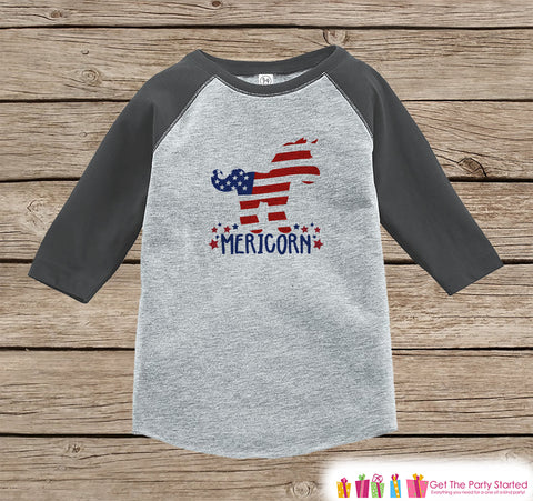 4th of July Shirt - Patriotic Unicorn - Kids Mericorn 4th of July Onepiece or T-shirt - Boys or Girls Grey Raglan - Funny 4th of July Shirt