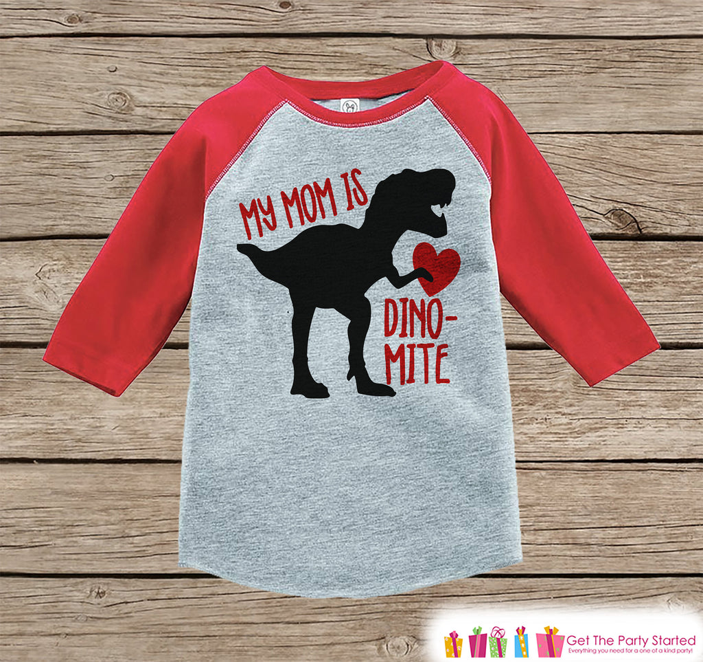 e225e4e8 Kids Mother's Day Outfit - Red Heart Dinosaur Onepiece or Tshirt - Hap –  Get The Party Started