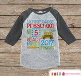 First Day of Preschool Shirt - Boys Preschool Stats Outfit - Kids Stats Grey Raglan - My 1st Day of School Outfit - Back To School Shirt