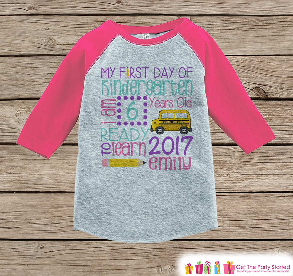 Girls First Day of Kindergarten Shirt - Back To School Shirt - Kindergarten Stats Shirt - Kids Pink Raglan - Girls My 1st Day of School