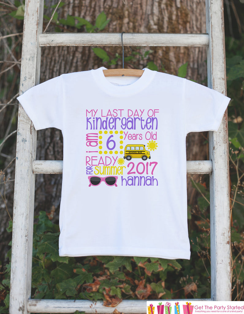 Last Day of Kindergarten Outfit - Girls Kindergarten Stats Shirt - Girls School Tshirt - My Last Day of Kindergarten Outfit for Girls