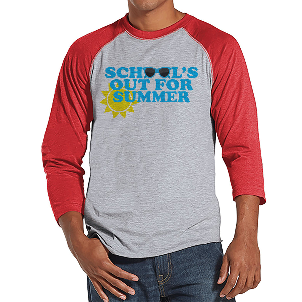 Teacher Shirts - School's Out For Summer - Teacher Gift - Teacher Appreciation Gift - Blue Sunglasses Summer Shirt - Men's Red Raglan Tee