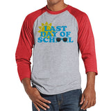 Teacher Shirts - Last Day of School Shirt - Teacher Gift - Teacher Appreciation Gift - Blue Sunglasses School Shirt - Men's Red Raglan Tee
