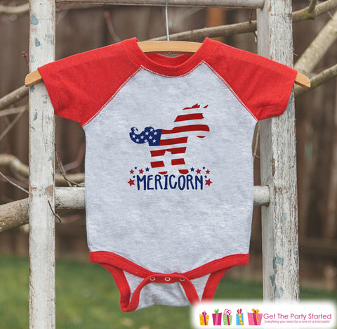 4th of July Shirt - Patriotic Unicorn - Kids Mericorn 4th of July Onepiece or T-shirt - Boys or Girls Red Raglan - Funny 4th of July Shirt