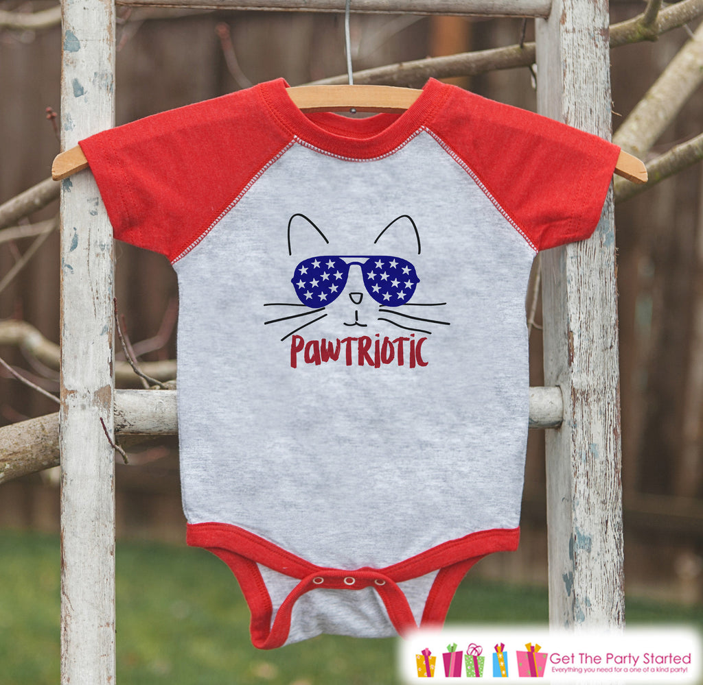 4th of July Shirt - Pawtriotic Cat - Kids Pawtriot Funny 4th of July Onepiece or T-shirt - Boys or Girls Red Raglan - Cat 4th of July Shirt