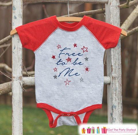 4th of July Shirt - Free To Be Me - Kids 4th of July Onepiece or T-shirt - Boy or Girls Red Raglan - Patriotic Freedom 4th of July Shirt