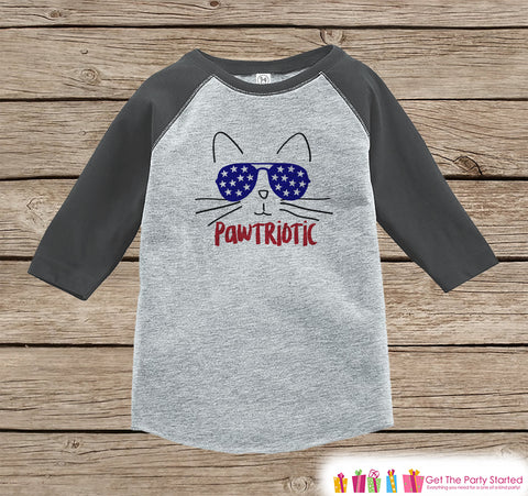 4th of July Shirt - Pawtriotic Cat - Kids Pawtriot Funny 4th of July Onepiece or T-shirt - Boys or Girls Grey Raglan - Cat 4th of July Shirt