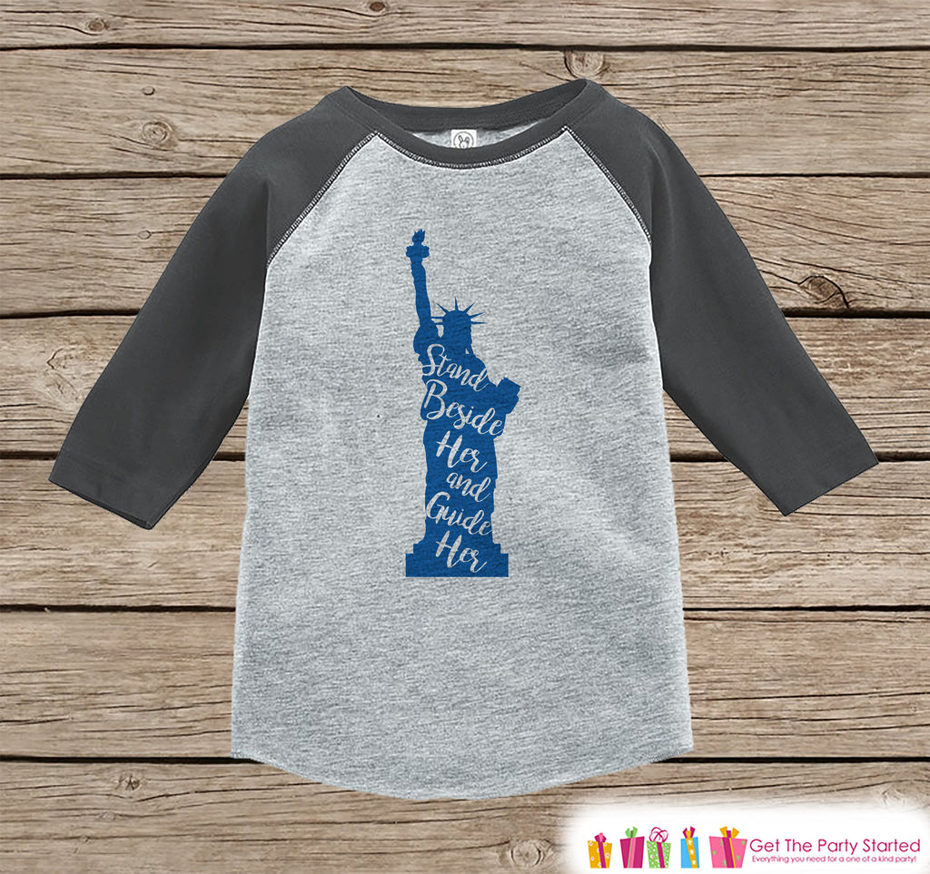 4th of July Shirt - Statue of Liberty Shirt - Kids 4th of July Onepiece or T-shirt - Boy or Girls Grey Raglan - Patriotic 4th of July Shirt