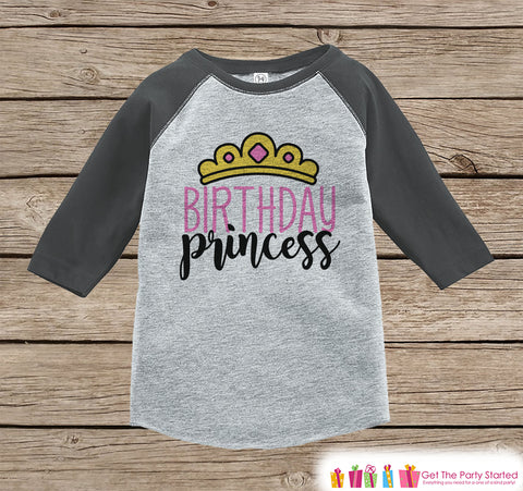 Girls Birthday Outfit - Princess Birthday Girl Birthday Shirt or Onepiece - Birthday Princess Outfit - Grey Baseball Tee - Kids Raglan Shirt