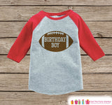Boys Birthday Outfit - Football Birthday Boy Shirt or Onepiece - Birthday Boy Football Outfit - Red Baseball Tee - Kids Raglan Shirt