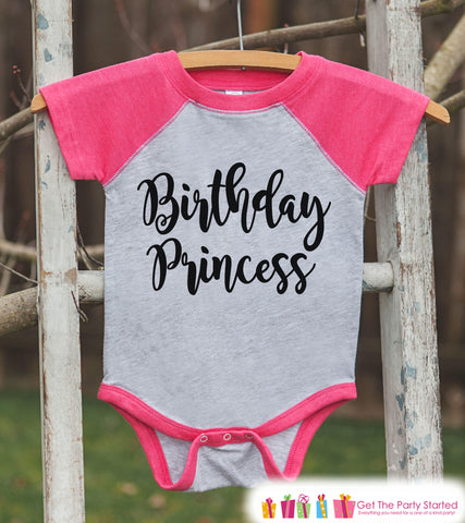 Girls Birthday Outfit - Princess Birthday Shirt or Onepiece - Birthday Princess Outfit - Pink Baseball Tee - Kids Raglan Shirt - Black