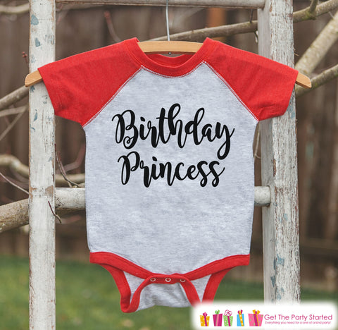Girls Birthday Outfit - Princess Birthday Shirt or Onepiece - Birthday Princess Outfit - Red Baseball Tee - Kids Raglan Shirt - Black