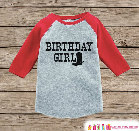 Girls Birthday Outfit - Cowgirl Birthday Girl Birthday Shirt or Onepiece - Western Birthday Outfit - Red Baseball Tee - Kids Raglan Shirt