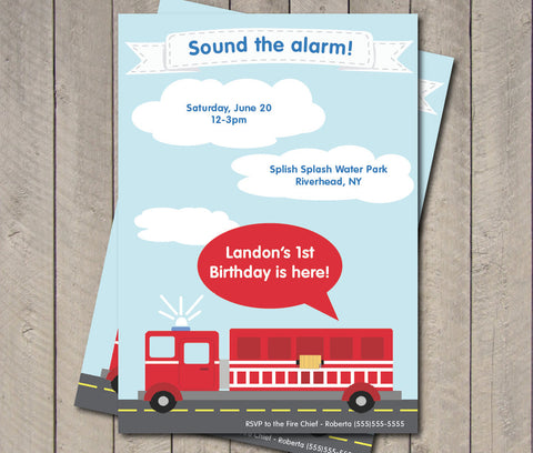 Firetruck Birthday Party Invitation - Fire Engine Invite - Digital Printable Invite - Get The Party Started