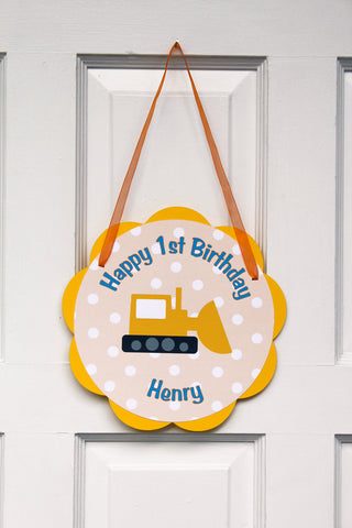 Construction Birthday Party Door Hanger Party Sign - Construction Theme Birthday Decorations - Get The Party Started