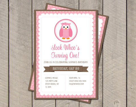 Owl Birthday Party Invitation - Pink & Brown Owl Invite - Look Whoo's One - Digital Printable Invitation - Get The Party Started