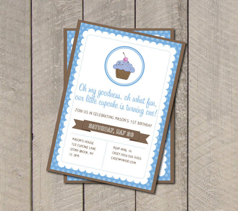 Cupcake Birthday Party Invitation - Blue & Brown Cupcake Invitation - Digital Printable Invite - Boy Birthday Party - Get The Party Started