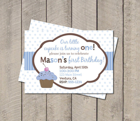 Cupcake Birthday Party Invitation - Blue & Brown Lil Cupcake Invitation - Digital Printable Invite - Get The Party Started