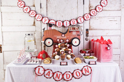 "Boy Birthday Decorations - ""Happy Birthday"" Banner"" - Firetruck Birthday Decorations - Get The Party Started"