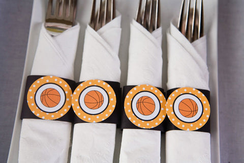 Basketball Birthday Party - Napkin Rings - Silverware Wraps - Party Decorations in Orange & Black (12) - Get The Party Started