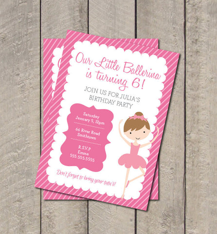 Ballerina Birthday Party Invite - Hot Pink & Light Pink Ballet Invitation - Digital Printable Invite - Pink Tutu Birthday - Get The Party Started