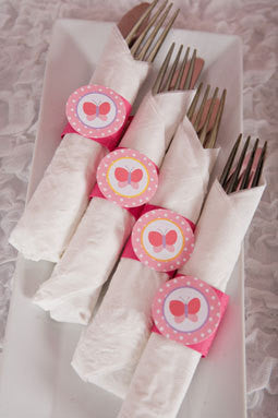 Butterfly Birthday Party - Napkin Rings - Silverware Wraps - Butterfly Party Decorations in Pink (12) - Get The Party Started