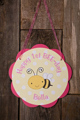 Bee Themed Happy Birthday Party Sign Door Hanger in Hot Pink & Yellow - Happy Bee Day Party Decorations - Get The Party Started