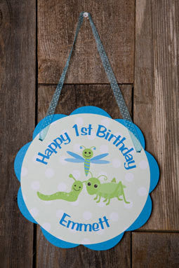 Bug & Insect Theme Door Hanger - Happy Birthday Party Sign Decoration in Aqua Blue and Green - Get The Party Started