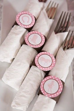 Cowgirl Birthday Party - Napkin Rings - Silverware Wraps - Cowgirl Party Decorations in Pink and Brown (12) - Get The Party Started