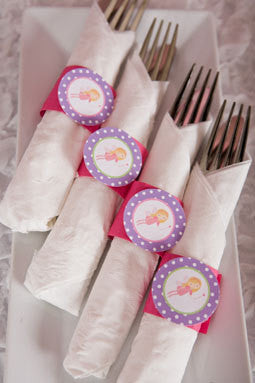 Fairy Birthday Party - Napkin Rings - Silverware Wraps - Fairy Party Decorations in Pink & Purple (12) - Get The Party Started