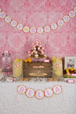 "Girl Birthday Banner - ""HAPPY BIRTHDAY"" Banner - Pink Lemonade Birthday Banner - Get The Party Started"