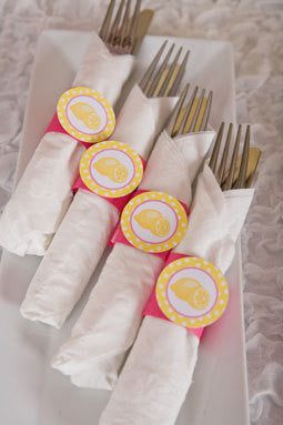 Lemonade Birthday Party - Napkin Rings - Silverware Wraps - Lemonade Theme - Birthday Decorations in Yellow & Pink (12) - Get The Party Started