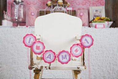 Tea Party Birthday Party Decorations - I am 1 MINI BANNER - Hot Pink & Purple Tea Happy Birthday Party Sign - Get The Party Started