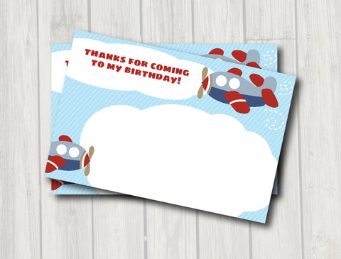 Airplane Thank You Note - Airplane Birthday Party Thank You Card - Digital Printable Thank You - Get The Party Started