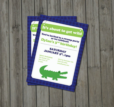 Alligator Birthday Party Invitation - Alligator Invite - Digital Printable Invite - Swamp Party Birthday - Get The Party Started