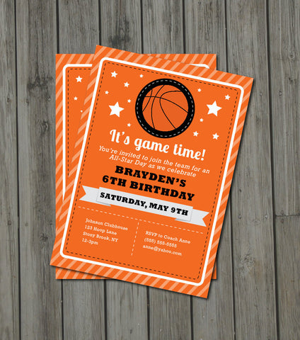 Basketball Birthday Party Invitation - Basketball Invite - Digital Printable Invite - Basketball Invitation - Get The Party Started