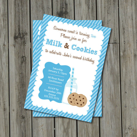 Milk & Cookies Birthday Party Invitation - Milk and Cookies Invite - Digital Printable Invite - Milk and Cookies in Blue and Brown - Get The Party Started