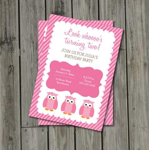 Owl Birthday Party Invitation - Pink & Brown Owl Invite - Look Whoo's Turning Two Digital Printable Invite - Get The Party Started