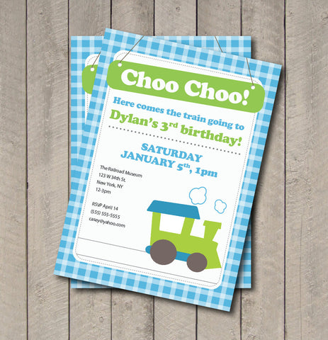 Train Birthday Party Invitation - Train Invitation - Digital Printable Invite - Transportation Theme Birthday Party - Aqua Blue and Green - Get The Party Started