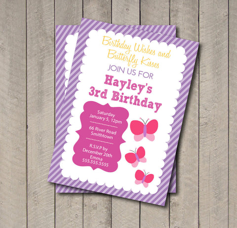Butterfly Birthday Party Invitation - Butterfly Invitation - Digital Printable Invite - Flutterby Invitation - Get The Party Started