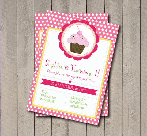 Cupcake Birthday Party Invitation - Sweet Shoppe Cupcake Invite - Digital Printable Invite - Cupcake Invitation - Get The Party Started