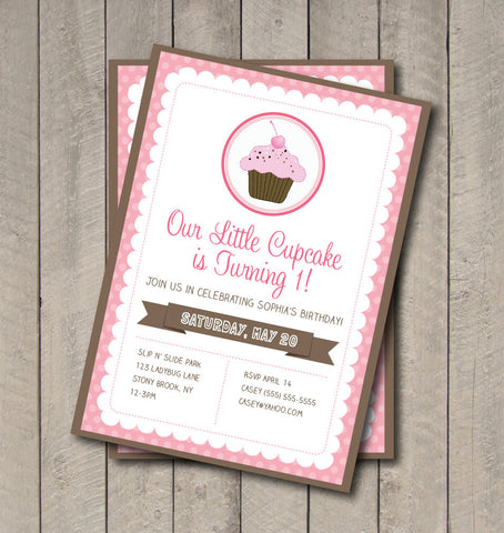 Cupcake Birthday Party Invitation - Pink & Brown Cupcake Invite - Digital Printable Invite - Cupcake Invitation - Sweet Shoppe - Get The Party Started