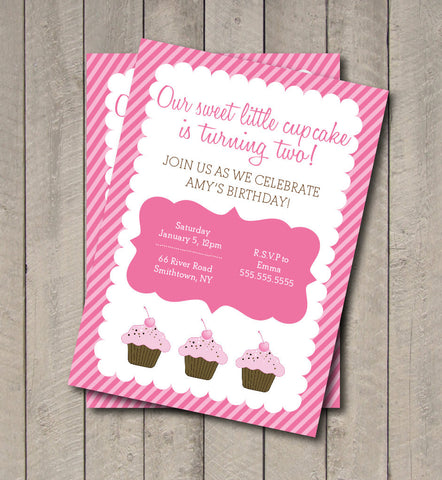 Cupcake Birthday Party Invite - Hot Pink & Light Pink Cupcake Invitation - Digital Printable Invite - Cupcake Invite - Get The Party Started