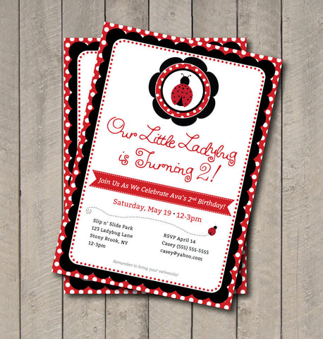 Ladybug Birthday Party Invitation - Red & Black Ladybug Invite - Digital Printable Invite - Ladybug Invite - Ladybug Invitation - Get The Party Started